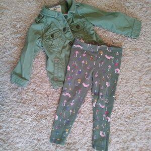 Olive Green Toddler Leggings